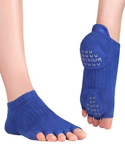 Knitido+ Tani, Zehensocken mit Grip, für Yoga, Pilates und Fitness, Größe:39-42, Farbe :königsblau (77)