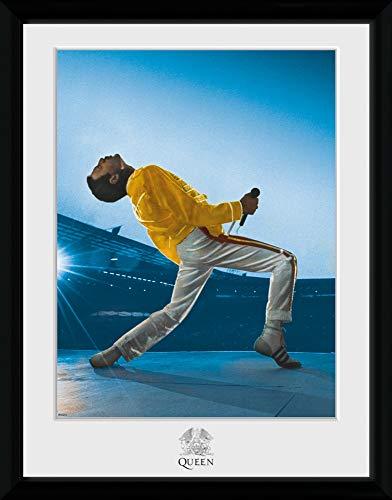 1art1 Queen - Freddie Mercury Live At Wembley Stadium Poster da Collezione Incorniciato (40 x 30cm)