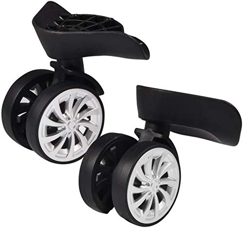 Rubber Swivel Caster, Luggage, Suitcase, Swivel Wheels, Replacement 55 mm Wheels for Trolley, Suitcase, Black, Pack of 2