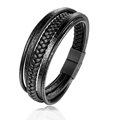 Pulsera para hombre de cuero genuino - Cierre magnético de acero - 22cm - Negro