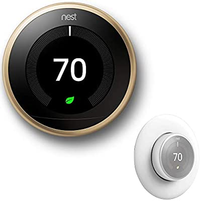 Nest Google T3019US Learning Thermostat 3rd Gen Smart Thermostat Bundle with Deco Essentials Wall Plate Cover for Google Thermostat 1st, 2nd, 3rd Generation Models