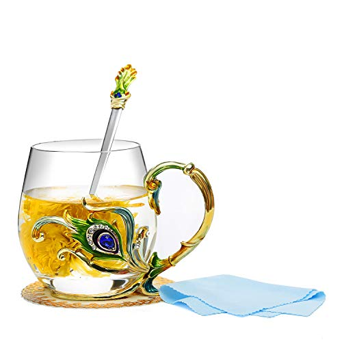 Evecase Smalti Fiore di farfalla Tazze da caffè in vetro Tazza da tè con cucchiaio in acciaio e confezione regalo, regali personalizzati per le donne Moglie Mamma Compleanno Festa della mamma …