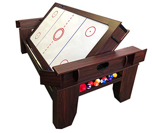 2 in 1 - 7Ft Red Pool Table Billiard Become an Air Hockey Table with Accessories