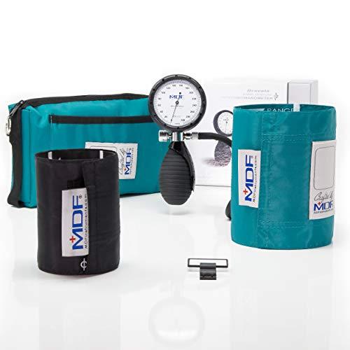 MDF® Bravata® Palm Esfigmomanómetro aneroide - Monitor profesional de presión arterial (adulto y pediátric) - Garantía de por vida & Programa piezas gratuitas de por vida - Verde Azulado (MDF848XPD-16)