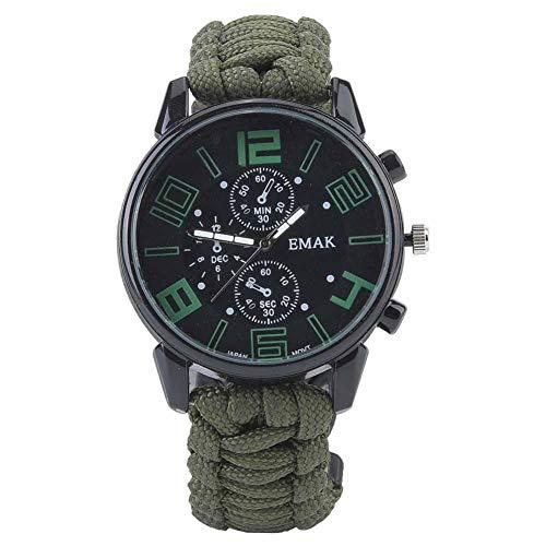 6 en 1 Reloj de Supervivencia multifunción Impermeable al Aire Libre Reloj de Supervivencia de Emergencia Camping Rescate Paracord Supervivencia Pulsera Pulsera