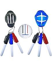 taianle 2 Piezas de Línea de Bolas de Golf Herramienta de Marcado de Bolas Putt Herramienta de Alineación de Marcador de Bolas de Posicionamiento Y 6 Bolígrafos de Golf Equipo de