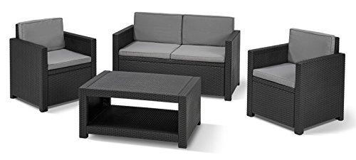 Koll Living Lounge Set Korsika in anthrazit, inkl. Sitzauflagen & Rückenkissen, langlebiger & wetterfester Kunststoff in Rattanoptik, 2 Sessel + 1 Sofa + Tisch - 6