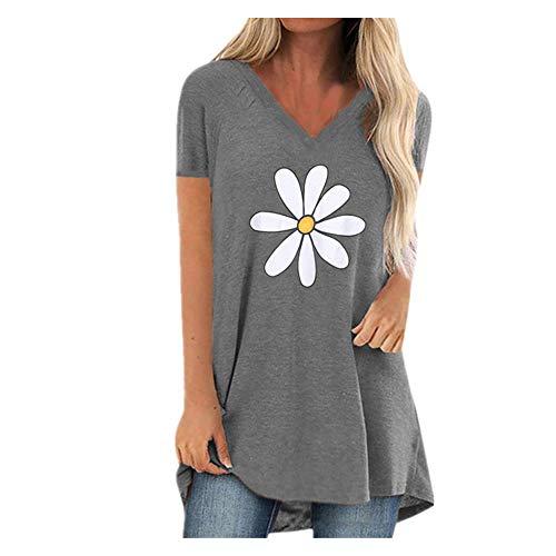 N\P Camiseta de manga corta con cuello en V y estampado de mujer de manga corta - azul - 5X-Large
