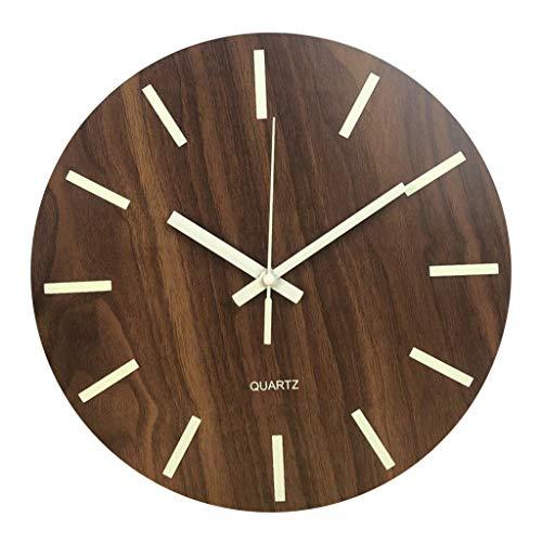 """MagiDeal 12""""Reloj de Pared Luminoso Redondo de Madera Estilo rústico Cocina Dormitorio Oficina hogar silencioso y sin Tic-TAC Gran número operado por batería - Escala de números"""