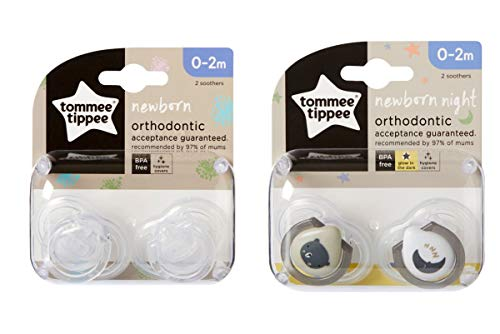 Newborn Day/Night Soothers/Dummies 0-2m by Tommee Tippee (Clear (Day) / White/Grey (Night) - 1 Pack Each)