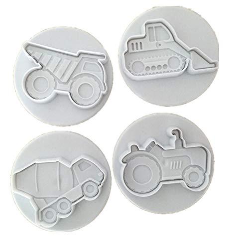 NOBRAND Home essentials 4 stks Set van Cake Biscuit Unlocker Fudge Cake Mold Car Thema (truck Drag Heftruck) Taart Decoratie Tool