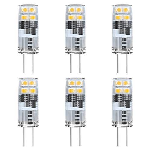 Noobibaba G4 LED Warmweiss 12V 1W Glühbirne, G4 Halogen 10W Ersatz, 12V AC/DC G4 Bi-Pin Basis für Kronleuchter Pendelleuchten Korridorleuchte 2700K Warmweiß 6er Pack