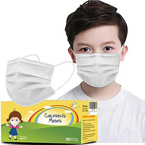 Hxihan Kids Face Masks 50 Pack Ages 4-12,Disposable 3-Layer Protection Filter Child Face Mask for Kids Safety Anti Dust Cove 50 Pcs (Medium, White)