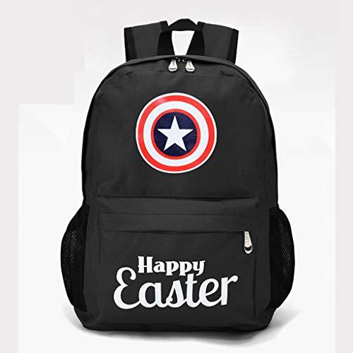 Children backpack- 3D Printing Captain America Captain Rucksack Men And Women Travel Bag Student SchoolBags For 6-12 Year Old Gift - Seasonal School Gifts Black-29 * 15 * 40cm