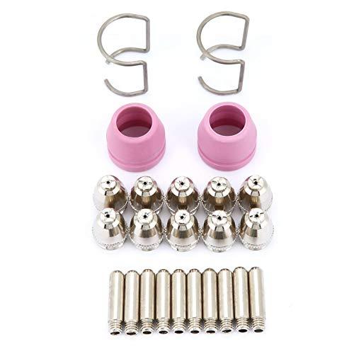 Kit de electrodo de boquilla Boquillas de electrodo Cortador de plasma multifuncional Boquilla de electrodo de plasma con anillo guía Ajuste de cobre para antorcha SG55, AG-60