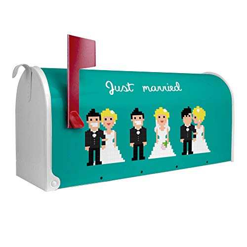 BANJADO US Mailbox | Amerikanischer Briefkasten 51x22x17cm | Letterbox Stahl weiß | mit Motiv Pixel...