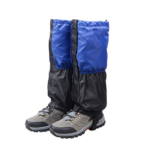 TRIWONDER Fleece-Lined Snow Leg Gaiters Waterproof Boot Gators Hiking Gaiters for Kids Men Women Lightweight Walking Climbing Hunting Cycling Leggings Cover (Blue&Black)