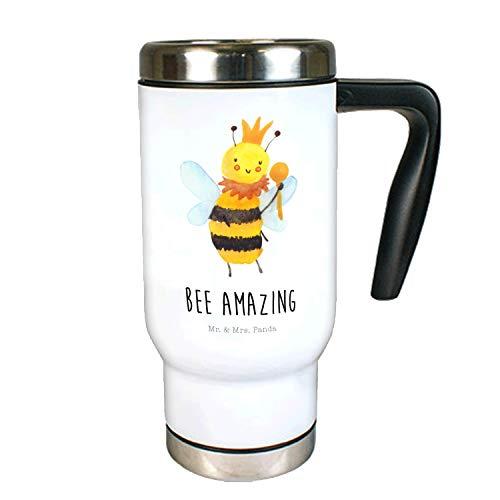 Mr. & Mrs. Panda Thermotasse, to Go Becher, Edelstahl Thermobecher Biene König mit Spruch - Farbe Weiß