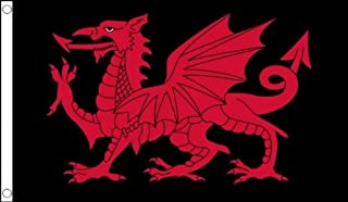 Flag Co 5Ft X 3Ft (150 X 90 Cm) Wales Welsh Dragon St Davids Black & Red 100% Polyester Material Flag Banner For Club School Business Party Decoration