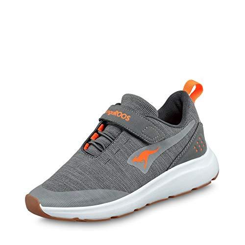 KangaROOS Unisex-Kinder KB-Hook EV Sneaker, Steel Grey/Neon Orange 2125, 30 EU