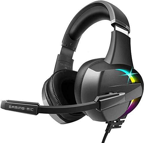 BENGOO Stereo GM7 - Auriculares de Diadema para PS4, PC, Mando Xbox One, luz LED RGB, Volumen en línea para Ordenador portátil, Mac, Nintendo Switch