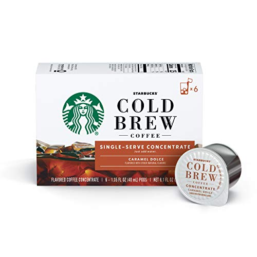 Starbucks Cold Brew Coffee Caramel Dolce Flavored Single-Serve Coffee Concentrate Pods 6 Count (Pack of 6)