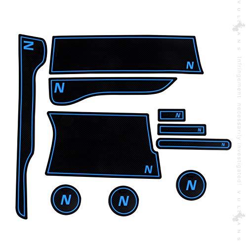 N-VAN JJ1・2 ドアポケットマット 蓄光色/ブルー/レッド 選べる3色 インテリアマット 滑り止めマット 内装 パーツ アクセサリー ゴムマット Nバン (ブルー)