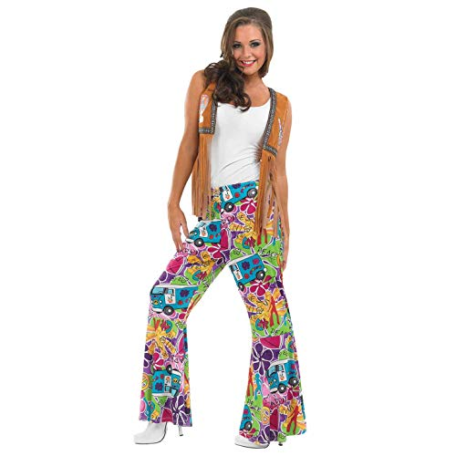Ladies Hippie Patterned Flares. Fabulous retro design (with VW camper van) and available for sizes S to XL.