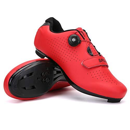 xxinaishan サイクルシューズ SPD/SPD-SL両対応 自転車靴 自転車シューズ 耐摩耗性 通気性 快速靴紐 初心者 XNS-569 (レッド, measurement_24_point_0_centimeters)