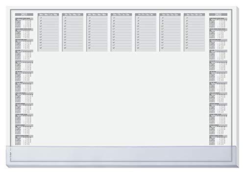 SIGEL HO366 Papier-Schreibunterlage, ca. DIN A2, mit transparenter Schutzleiste, 2-Jahres-Kalender 2021 2022, 40 Blatt, in nachhaltiger Verpackung, Einheitsgröße, SY501