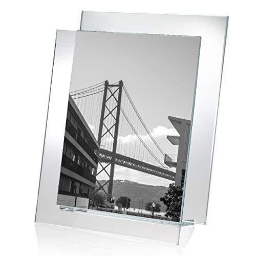 OMODOMO - Marco de cristal para fotos de 10 x 15 cm, hecho a mano en Italia, portafotos de mesa Side by Side, idea regalo único para aniversario, boda, graduación, bodas de oro, ocasiones especiales