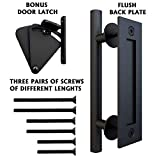 Floradis Pull and Flush Handle Set 12' for Sliding Barn Door. Fit Doors Up to 2 1/3'. Flush Mount Back Plate. 3 Pairs of Different Length Screws. Frosted Black Satin Powder Coating Hardware
