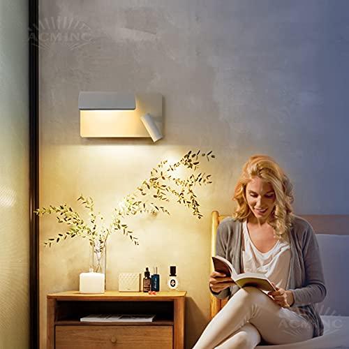 ACMHNC Aplique de Pared Interior Blanco Con Interruptor, Focos 3W y Downlight 6W, Aplique de Lectura LED Plegable Lámpara de Pared Aluminio Para Dormitorio, Sala de Estar, Estudio, Estudio