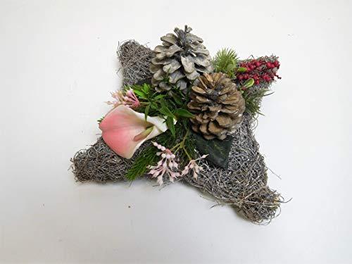 Ziegler Grabgesteck Grabschmuck Reben künstlich 20 x 20 cm eckig Calla Rose 13