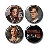 4 pcs Dr. Spencer Reid Button Pins Set 1.5'/3.7cm Badge Pack, Criminal Minds Spencer Matthew Gray Gubler TV Show Gift Merch, 271-P005