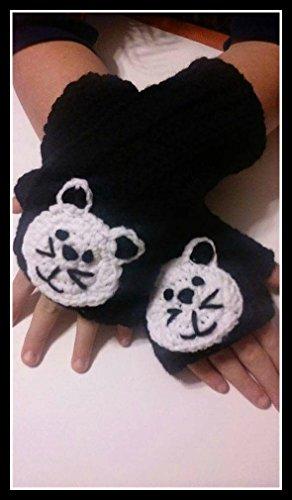 Hand Crocheted Black with White Cat Childs Fingerless Mittens, Children Fingerless Gloves Hand Warmers