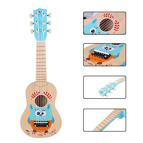 Foxom Guitarra para Niños, 21 Pulgadas 6 Cuerdas Madera Guitarra Juguetes - Instrumento...