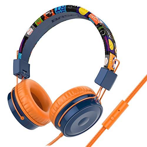 Baseman Kinder-Kopfhörer mit Mikrofon, kabelgebundene On-Ear-Headsets mit sicherer Lautstärke begrenzt 85 dB, faltbare und verstellbare Kopfhörer mit einem 3,5-mm-Klinken-Kabel für Kinder/Schule/Handy