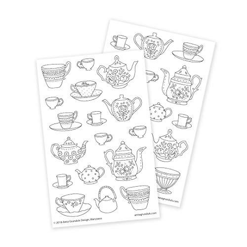 Aufkleber zum Ausmalen für Erwachsene mit Teekannen und Tassen Illustration, 2 Blätter