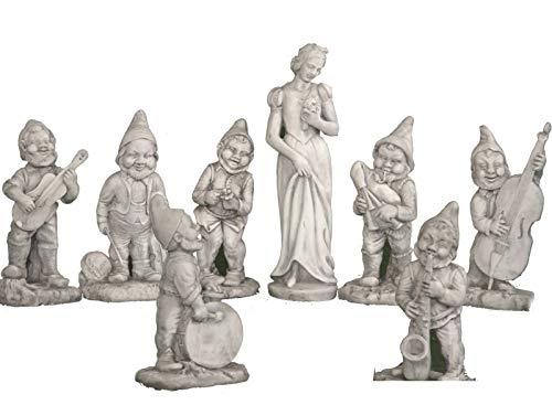 AnaParra Conjunto Figuras de hormigón clásica Blancanieves 85cm. y Los Siete Enanitos 54cm. - Resistente UV, heladas, Vientos. Sin Mantenimiento - Hecho en España.