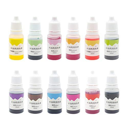 Supvox Pigmento líquido Agua Color del aceite Color del pigmento Uso dual Pigmento para teñir con jabón Colorante de plastilina Fabricación manual 10 ml 12 pzas
