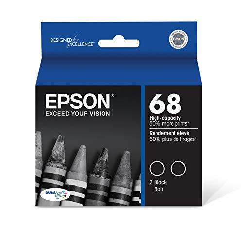 Epson T068120-D2 Epson DURABrite Ultra 68 High-capacity Black Ink Cartridge Dual Pack (T068120-D2) Ink