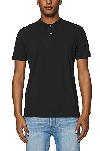edc by ESPRIT Herren 019CC2K025 Poloshirt, Schwarz (Black 001), Large (Herstellergröße: L)