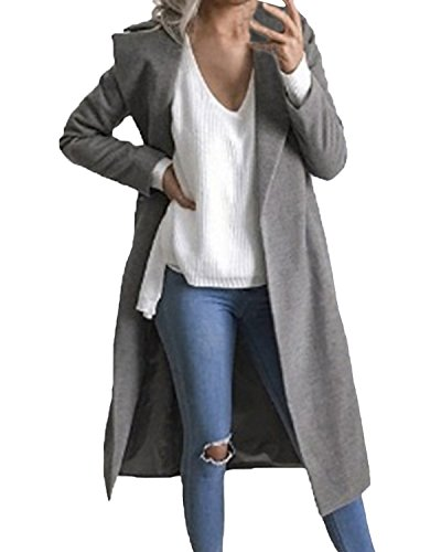 Auxo Women Trench Coat Long Sleeve Pea Coat Lapel Open Front Long Jacket Overcoat Outwear Cardigan Grey M