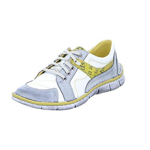 KRISBUT 2284-1 Damen Sneaker Halbschuh Schnürer Leder Gelb Weiß Grau (Grey), Größe 36