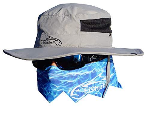Fishoholic Fishing Hat - Bucket Boonie Hat - L/XL - Breathable Mesh & 2 Adjustable Neck & Head Straps - UPF50+ Sun Protection Wide Brim Hat or Sun Hat (R) TM Fishaholic (Gry, L/XL)