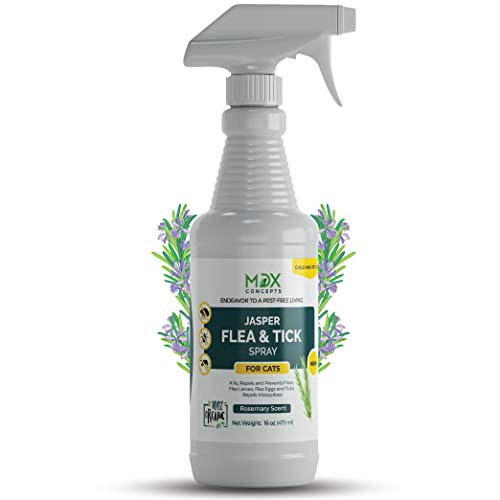mdxconcepts Jasper Cat's Flea and Tick Control Spray – Rosemary Oil Treatment for Cats –100% Natural –Essential Oils –Safe to Use –16 oz