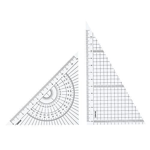 コンサイス 定規 カラー三角定規セット 15cm クリア 118411