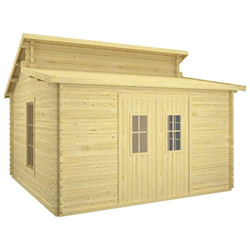 vidaXL Solid Pinewood Log Cabin Weather Resistant Heavy Duty Wooden Garden Firewood Tool Wood House Storage Shed Outdoor Timber Cabin 44 mm
