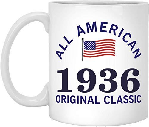 Mesllings Amazing American 82º cumpleaños taza – All American 1936 Original Classic – Tazas motivadoras para hombres, mujeres en aniversario de boda – Taza de cerámica blanca 325 ml